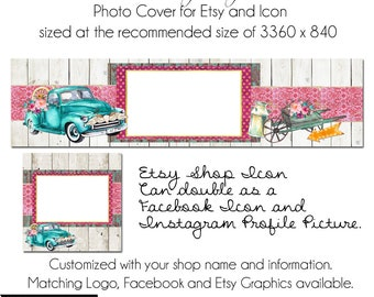 DIY Etsy Cover Photo - Add your own Text, Instant Download, Just Junkin Around, New Cover Photo For Etsy, Made to Match Graphics, DIY