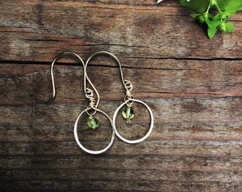 gold hoop earrings with green peridot or any gemstone, gold filled earrings, peridot earrings from the uk