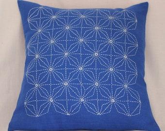 Hand embroidered pillow with Sashiko embroidery Diamond stars Ganzezashi
