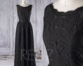 Long Black Bridesmaid Dress, Bateau Neck Lace Wedding Dress, A Line Prom Dress, Sweetheart Illusion Evening Gown Party Dress (FL019-2B)