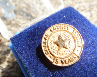 Vintage award pin, County State  award pin Vintage 1/5 10k gold filled  pin Dallas County Texas award pin 5 years RARE Collectible