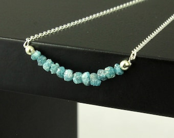 Blue Rough Diamond Necklace - Sterling Silver - Rare Blue Natural Raw Diamonds - April Birthstone