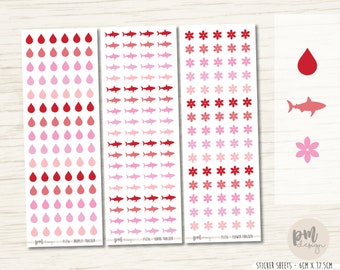 Tiny Period Tracker Stickers - Droplets, Sharks, Flowers - Planner Stickers - FS116