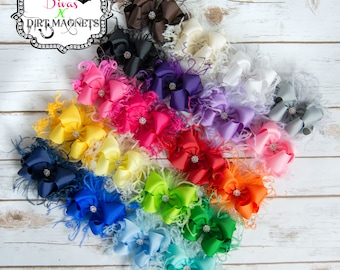 YOU CHOOSE Boutique Over the Top Double Layer Hair Bow - Solid Hair Bow - Over the Top Hair Bow - Hair Bow with Feathers
