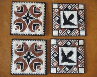 Retro/Vintage Crochet/Plastic Grid Backing Coasters/Brown/Toned/ Set of 4/Flower/Bird Design