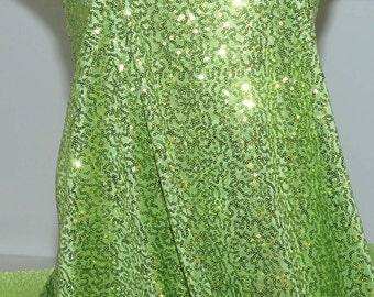 """Sewn on Sequin fabric 58"""" Lime/Chartreuse   stretch all 4 ways..great for costumes, dance, theater, formal wear, pageant"""