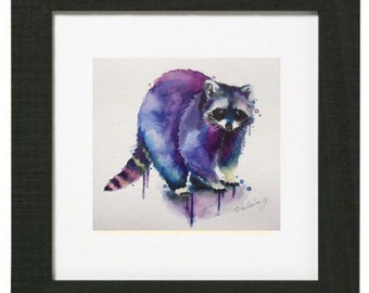 Illustration raccoon watercolor reproduction formats to choose
