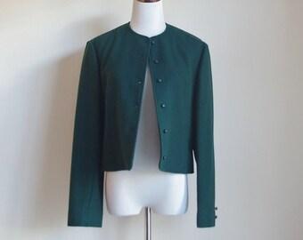 Vintage Pendleton Jacket, Forest Green Jacket, Wool Jacket, Short Boxy Jacket, Preppy Collarless Jacket, Medium Large