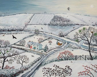 Print of snowy English landscape of fields from an original acrylic painting by Jo Grundy