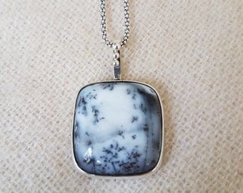 Dendritic Agate Necklace, Square Dendritic Agate Necklace , Handmade Sterling Silver, Gemstone Necklace, Mothers Day, Mothers Day Gift