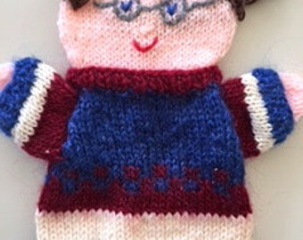 Custom puppets, Puppet 50 th, hand knitted grandfather doll, handpuppets