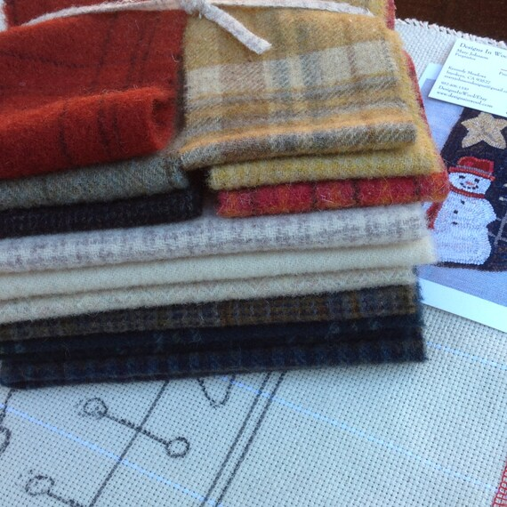 WOOL PACK for Rug Hooking and Applique, J990, Colorful Wool Bundle