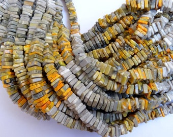 15 Inch Long Strand Bumble Bee Jasper Smooth Flat Squares, Bumble Bee Flat Square Beads (5 to 6 mm)