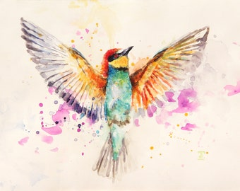 Flying Bird, Original Watercolor Painting, Bird Painting, Color bird, Bobapainting