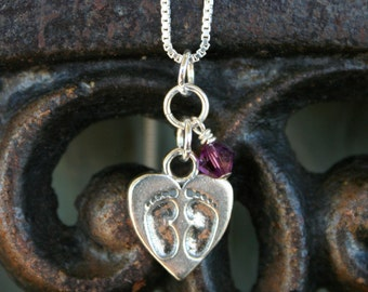 Miscarriage Memorial Necklace - Tiny Footprints on a Mother's Heart