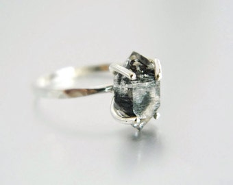 Diamond Herkimer Ring, Silver Engagement Ring, Diamond Ring, Sterling Silver Ring, Diamond Herkimer, Silver Ring