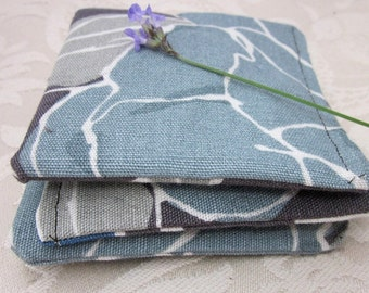 3 Brown and Blue Flower Pattern Lavender Sachets