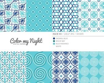 80% OFF SALE Digital Paper Blue 'Pack03' Scrapbook Papers Digital Backgrounds for Scrapbooking, Invitations, Decoupage, Crafts...