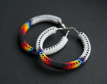Native American Inspired Hoops, Navajo Inspired Hoop Earrings, Ethnic Earrings, Bead Crochet Earrings, Colorful Earrings MADE TO ORDER
