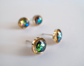 Sparkly Gold Stud Earrings - Hypoallergenic Surgical Steel Posts