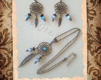 Dreamcatcher in bronze and glass bead set