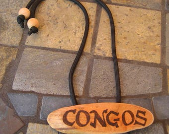 Congos Wood Hair tie or Ponytail Holder  for Dreads Dreadlocks or Thick Hair or Sisterlocks Woodburning