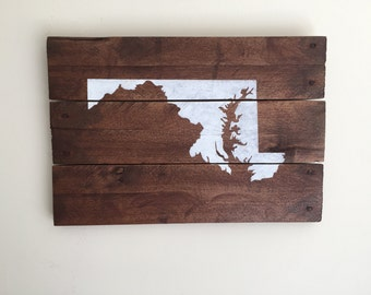 Rustic Pallet Sign, Maryland, Reclaimed Wood Sign, State Sign