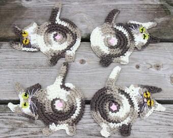 Set of 4 Peek-A-Boo Cat Butt Coasters, Chocolate Ombre Peek-A-Boo Cat Butt Coasters, Crochet Cat Coasters, Cat Butt Mug Rugs