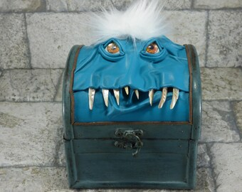 Desk Organizer Trinket Box Storage Treasure Chest Trunk Stash Pencil Tarot Box Aqua Leather Gamer MTG Card Box RPG