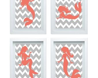 Mermaid Nursery Decor, Girl Room Decor, Bathroom Art,Bathroom Wall Decor, Mermaid Decor For Bathroom, Mermaids, Choose Your Color