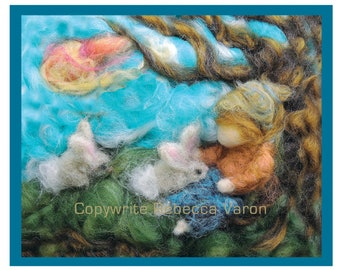 Printed Note Card - The Boy Loves Bunnies Greeting Card by Rebecca Varon Nushkie Design