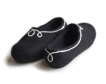 Handmade wool felted slippers with rubber soles- house shoes