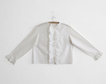 White Ruffled Lace Collarless Blouse
