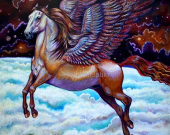 Golden Pegasus Flying Above the Earth Winged Horse Oil Painting Print