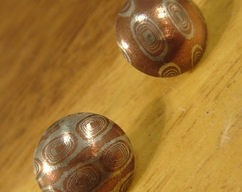 Mokume stud earrings copper and Sterling silver wood grain pattern handmade One of a kind Circle studs