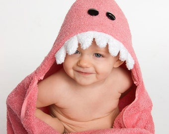 PERSONALIZED Pink Dinosaur Hooded Towel