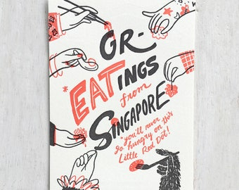Greatings from Singapore Letterpress Postcard