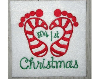 1st Christmas Candy Cane Embroidery Design, Machine Embroidery, Applique Design, Baby Feet, My 1st Christmas, Holiday, 2 Sizes,
