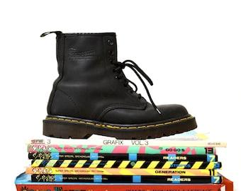 Erstaunlich, 90er Jahre schwarz Dr Martens Stiefel Größe Frauen 6 / / Jahrgang Doc Marten Black Boots UK Größe 4 hergestellt in England