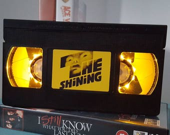 Retro VHS Lamp The Shining Scifi Night Light Table Lamp, Horror Movie . Order any movie! Great gift. Man Cave, Office, Bedroom, Mothers Day