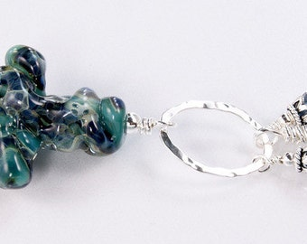 SALE****Lampwork Necklace - Lampwork Cross Sterling Silver Wire Wrapped Swarovski Necklace - KTBL