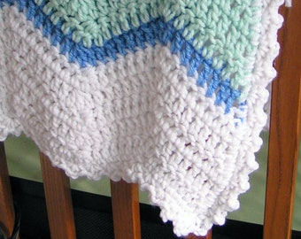 Chevron Stripe Baby or Lap Afghan White with Teal and Blue