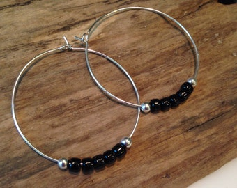 Hoop Earrings, Black and Silver, Seed Bead Hoop Earrings, Czech beads with silver beads, 1 1/2 Round hoops, Boho Earrings