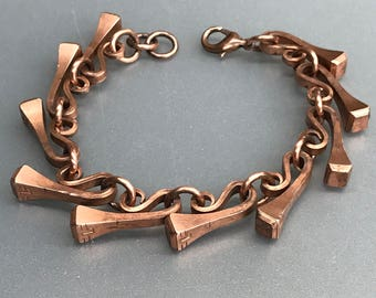 Copper-Coated Horseshoe Nail Equestrian Link Bracelet