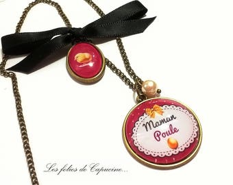 Necklace Cabochon mother hen • •