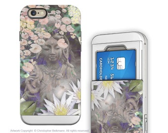"Goddess iPhone 6 6s cardholder Case - Buddhist Kwan Yin for iPhone 6 - ""Reflections"" - Credit Card Holder iPhone 6s Case with Rubber Sides"
