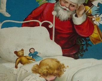 U/S Ellen Clapsaddle Santa Claus Listens to Little Girl Praying Antique Christmas Postcard