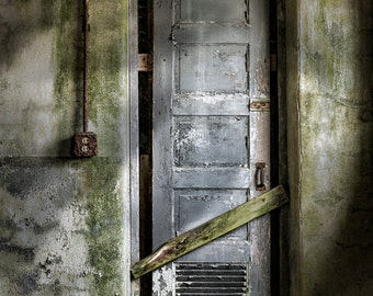 Sealed Door in an Abandoned Military complex, Mysterious, Odd, Haunting images, Old Doors, Portals to the unknown. Signed Print.
