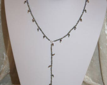 Necklace silver color with Crystal bicones and seed beads