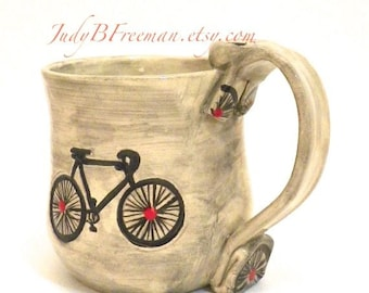 Ceramic Bicycle Mug Handmade Great for Dad Red Dots Made to Order MG0042